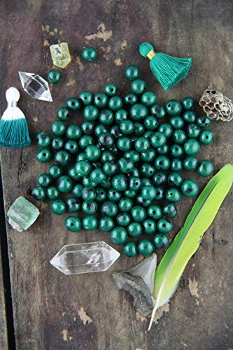 Emerald Green: Real, Natural Acai Beads, South American Eco-Beads, 10mm, 100 Beads, Rich Round, Large Hole, Jewelry Making Supply #WSW_9336