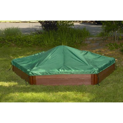 Frame It All Two Inch Series Composite Hexagon Sandbox Kit with Cover, 7' x 8' x 11