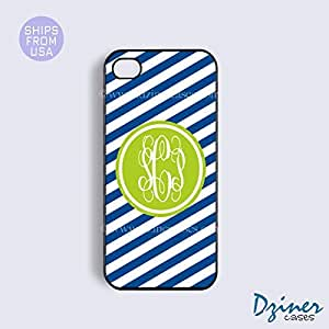 Monogram iPhone 5 5s Case - Blue Zebra Stripes Green Circle iPhone Cover