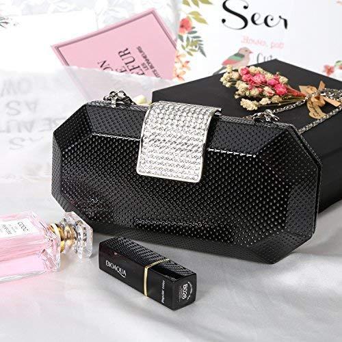 Octagonal PU Handbags Rhinestone Magnet Hook Evening Clutch Bag Fashion Purse
