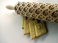 PANDA pattern Embossing Rolling Pin. Engraved rolling pin with PANDA for embossed cookies