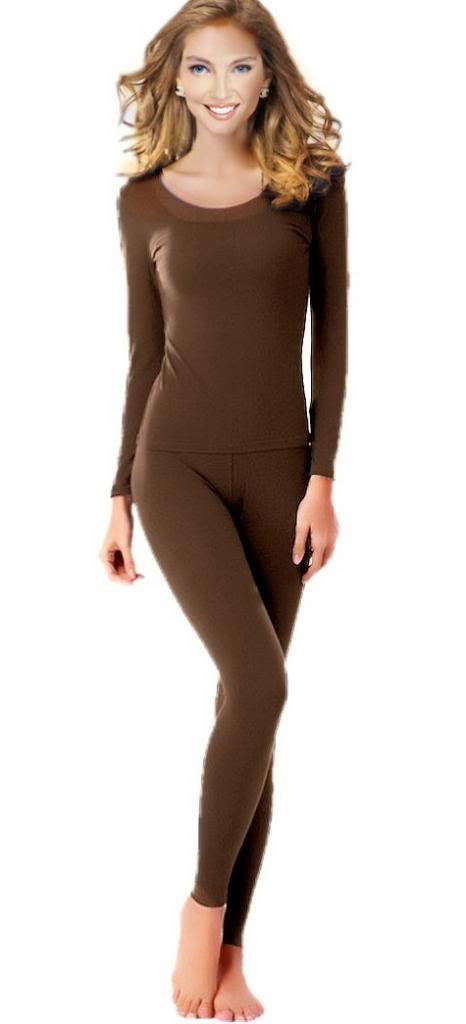 Women's Thermal Underwear Set Top & Bottom Fleece Lined, W1 Brown, XX-Large