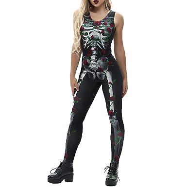 8e159ea9c2e3 Amazon.com  TIMEMEANS Women s Sexy Bone Rose Print Fashion Sling Slim  Halloween Costumes Jumpsuit  Clothing