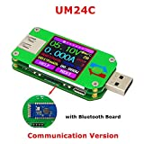 USB Digital Power Meter Tester Multimeter Current and Voltage Monitor Color LCD Display Tester Voltage Current Meter Voltmeter Ammeter (UM24C)
