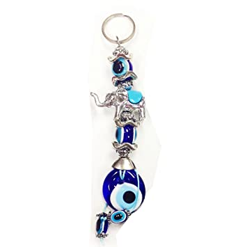 Pequeño azul ojo turco elefante llavero para Coche Mujeres ...