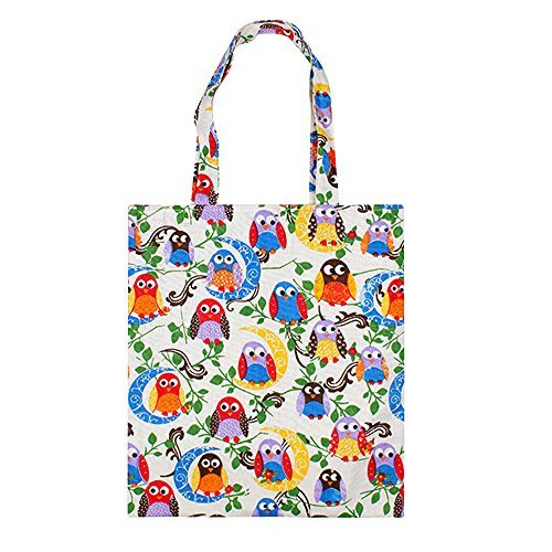 Caixia Women's Cotton Colorful Owl Print Canvas Tote Shopping Bag (Colorful Bird/No ()