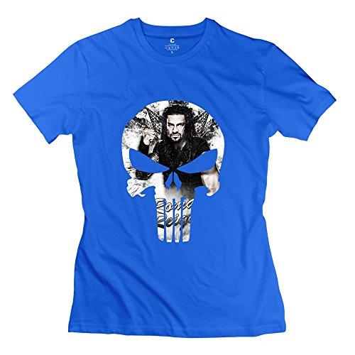 WWE Wrestler Roman Reigns Skull Logo Short Sleeve Tee Size M RoyalBlue