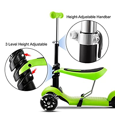 2-in-1 Kick Scooter with Removable Seat Great for Kids & Toddlers Girls or Boys – Adjustable Height w/Extra-Wide Deck PU Flashing Wheels for Children from 2 to 14 Year-Old (Green w/Seat) : Sports & Outdoors