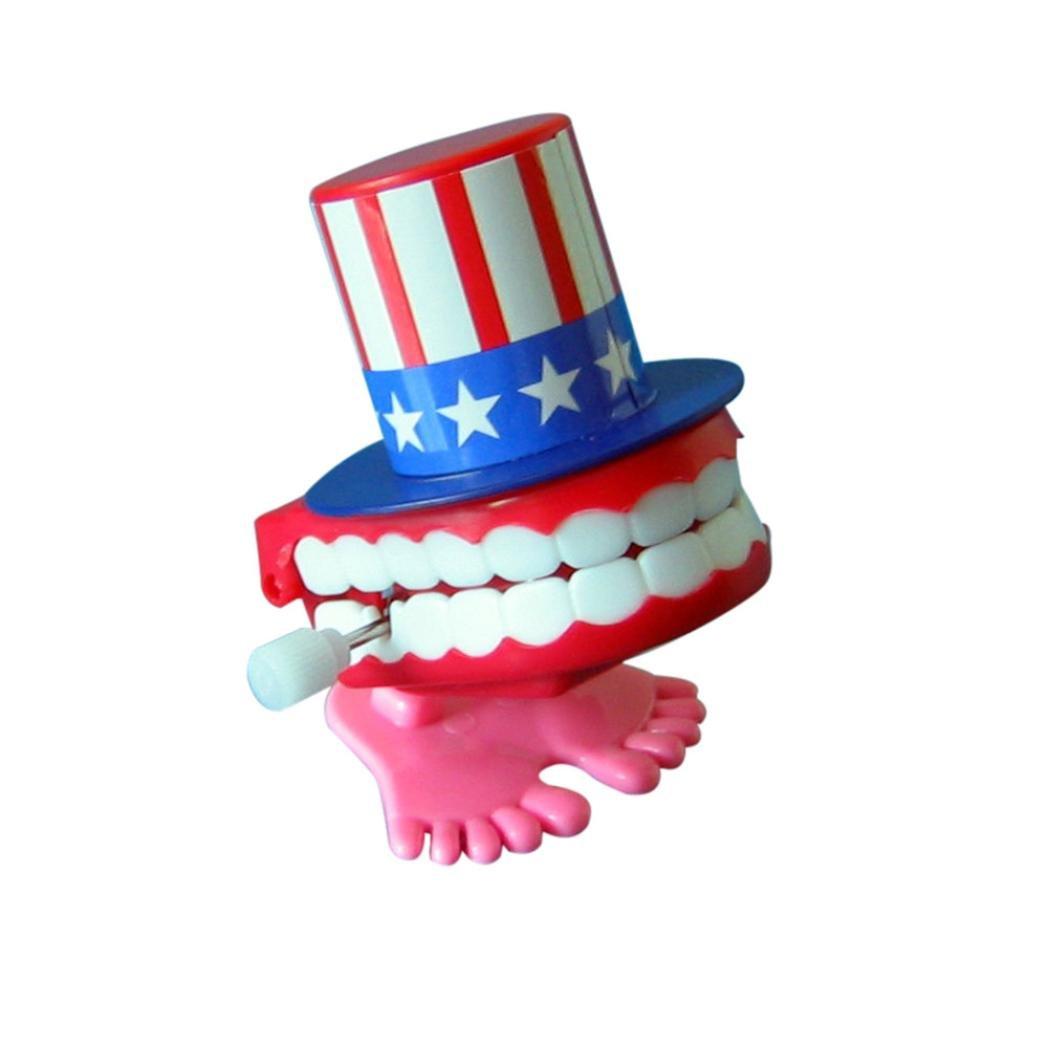 Alluing 7cm American Flag Wind-up Walking Teeth Denture Chattering Funny Teeth (AS Show)