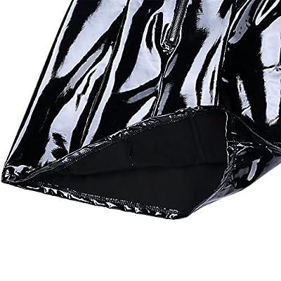 Yeahdor Womens Wet Look PVC Leather Sleeveless Bodycon Mini Dresses Zipper Nightclub Party Bandage Lingerie