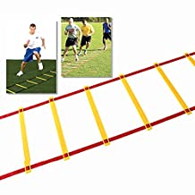 Lychee® Agility Ladder Agility Training Ladder Wellness Adjustable Flat Rung Speed Ladder Quickness Training Equipment for Faster Footwork, Soccer, Agility & Speed Training(6m, 12 Rung)