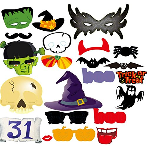 [Halloween Masks, Halloween Photo Booth Props, Party Decorations-22PC] (Devil Costums)