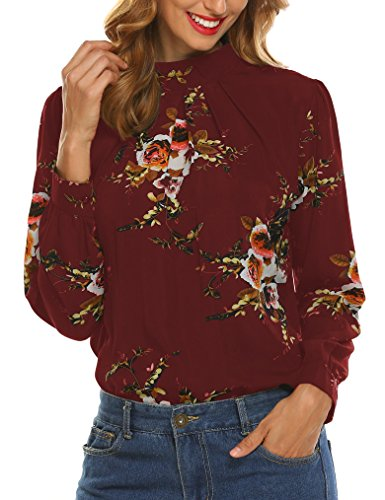 Print High Neck Top (Naggoo Women's Loose Chiffon Long Sleeve Floral Print Blouse Tops Shirt, Wine Red, US L)