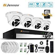 Jennov Security Poe System 4 Channel NVR 1080P IP Network Dome Camera Indoor Outdoor 3.6mm Lens Wide Angle Night Vision Home Video Surveillance With Pre-installed 1TB Hard Drive