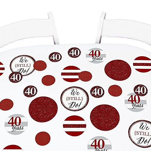 Big Dot of Happiness We Still Do - 40th Wedding Anniversary Giant Circle Confetti - Anniversary Party Decorations - Large Confetti 27 Count -