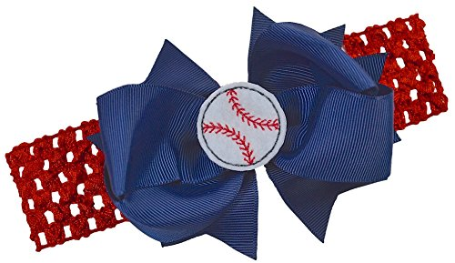 Sox Team Design (Baseball Team Fan Bow and Crochet Headband Fits Newborn to Toddlers Funny Girl Designs (RED BAND / NAVY BLUE BOW))