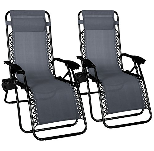 Odaof Adjustable Patio Outdoor Zero Gravity Chair Recliner Lounge Chair W/ Cup Holder, 2Pack (Grey)