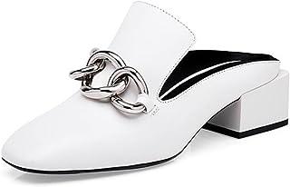 MUMA Scarpe col tacco Sandali da donna con testa quadrata 2018 Scarpe da donna con nuovo colore nero bianco Baotou Pantofole da donna con motivo Europa e Stati Uniti con tacco grosso con pantofole ( Colore : Nero , dimensioni : EU36/UK4/CN36 )