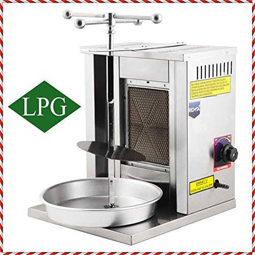 Meat Capacity 8 kg/17 lbs Propane Gas 1BURNER Mini Spinning Grills Vertical Broiler Shawarma Gyro Doner Kebab Tacos Al Pastor Small Grill Machine/Meat Holder + Skewer + Service Tray for Home Use