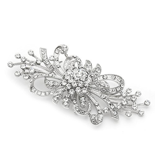 Mariell Antique Vintage Spray Crystal Rhinestone Bridal Brooch Pin for Weddings - Sterling Silver ()