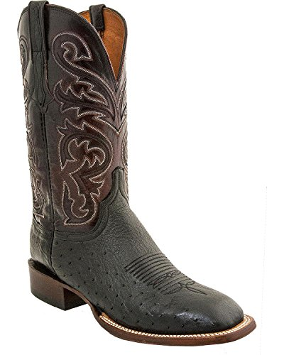 Lucchese Men's Lance Smooth Ostrich Horseman Boot Square Toe Black 8.5 D
