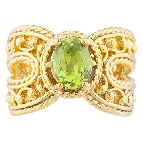 1.5 Ct Simulated Peridot Oval Cocktail Design Ring 14Kt Yellow Gold Plated Over .925 Sterling Silver ()