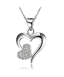 Stockton 925 Sterling Silver Love Heart Diamond Crystal Pedant Necklace for Women