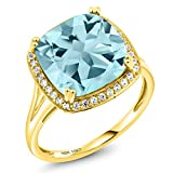 8.54 Ct Cushion Sky Blue Topaz White Diamond 10K Yellow Gold Ring (Available 5,6,7,8,9)
