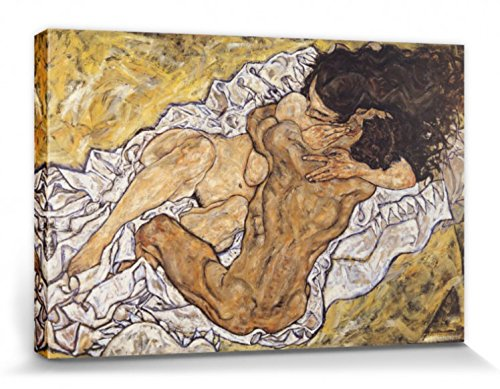 Egon Schiele Stretched Canvas Print - The Embrace, Lovers II, 1917 (47 x 32 inches) ()