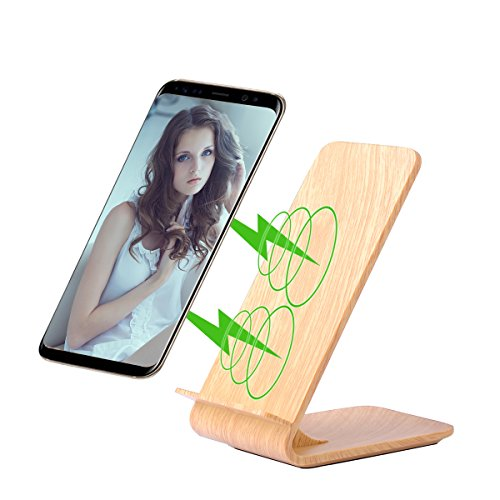 Fast Wireless Charger, Fast Charger Pad Qi Wireless Charger Stand 2 Coils For iPhone 8/X Samsung S8, S8+, S7, S7 Edge, S6 Edge Plus, Note5, S6, S6 Edge, And Iphone by Kulussy (Grain Wood)