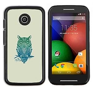 Patrón Búho tribal- Metal de aluminio y de plástico duro Caja del teléfono - Negro - Motorola Moto E / XT1021 / XT1022
