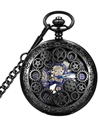 Steampunk Blue Hands Scale Mechanical Skeleton Pocket Watch with Chain As Xmas Fathers Day Gift