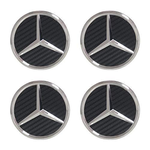 Carhome01 Mercedes Benz Wheel Center Hub Caps Emblem,75mm Rim Black Carbon hubcaps Fit Benz C ML CLS S GL SL E CLK CL GL Center Cap Badge 4PCS