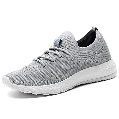 TIOSEBON Women's Lightweight Sports Running Shoes Fashion Breathable Slip-on Sneakers 11 US Gray