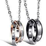 Best Flongo Wedding Ring Sets - Flongo Valentine Wedding Ring Pendant, Stainless Steel 2PCS Review