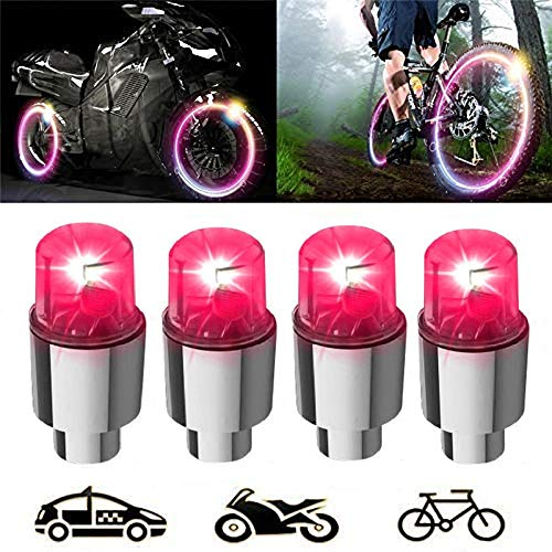 (Meethome 4 PCS LED Wheel Lights - Car Bike Wheel Tire Tyre Valve Dust Cap, Motion Activated, Spoke Flash Lights Car Valve Stems & Caps Accessories, Safety, Waterproof)
