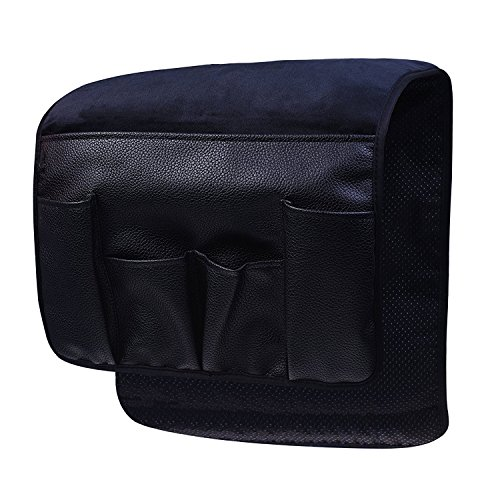 Wanty Velvet Sofa Couch Chair Armrest Soft Caddy Organizer Holder for Remote Control, Cell Phone, Book, Pencil (Black) (Leather Oak Recliner)