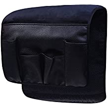 Wanty Velvet Sofa Couch Chair Armrest Soft Caddy Organizer Holder for Remote Control, Cell Phone, Book, Pencil (Black)