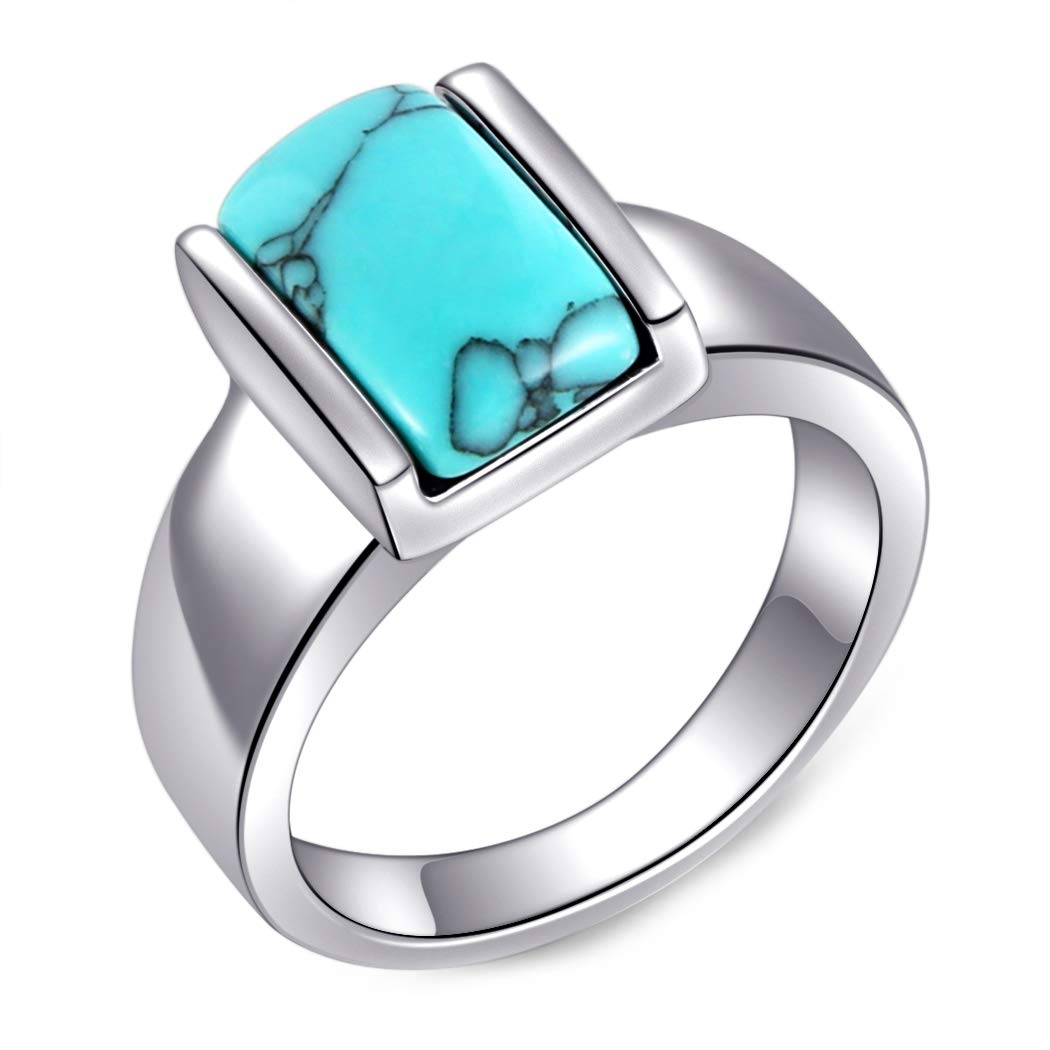 Amazon HZMAN Turquoise Stainless Steel Rings Valentines Day Mothers Girlfriend Birthday Gift Graduation Bachelor Party Anniversary Jewelry