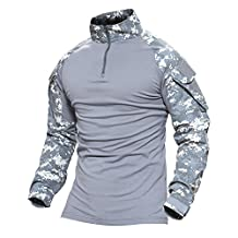 Magcomsen Tactical Military Combat Shirt Long Sleeve with Zipper