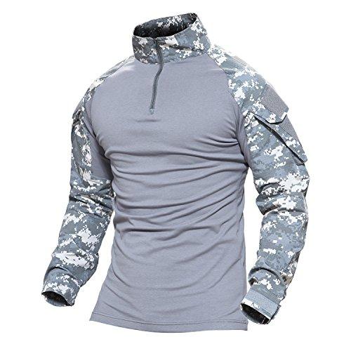 [Magcomsen Tactical Airsoft Combat Slim Fit Shirt Long Sleeve with Zipper] (Air Battle Uniform)