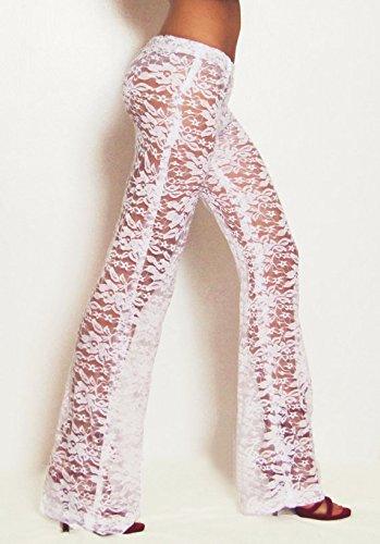 Bridal White Lace Pants/ Boho Pants/ Festival Pants/ Gypsy Pants/ Burning Man Pants/ Beach Cover-Up Pants/ Flare Pants/ Playa Attire