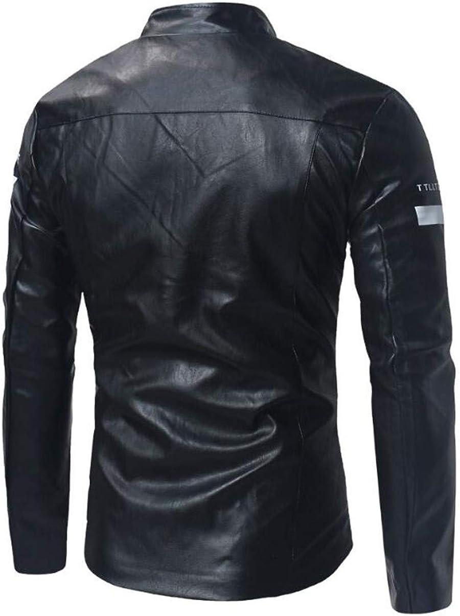 Bstge Mens Stylish Windbreak PU Leather Jacket