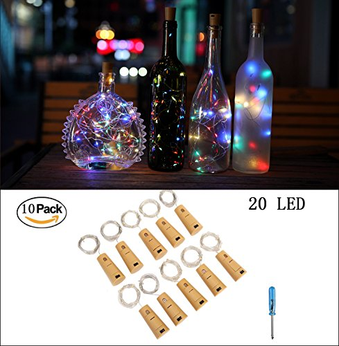 Cheap  Sunlane 10 Pack Wine Bottle Lights with Cork-20 Led Battery Powered Copper..