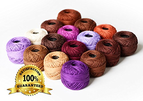 LE PAON Soft 10g Cotton Balls Rainbow Colors of Size 8 Perle/pearl Cotton Threads for Crochet, Hardanger, Cross Stitch, Needlepoint Hand Embroidery. All Different Colors (Purple Series) (Perle Balls Cotton)