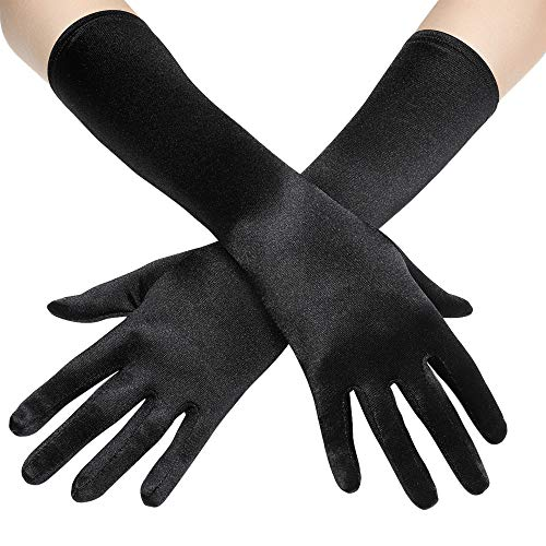 (BABEYOND Long Opera Party 20s Satin Gloves Stretchy Adult Size Elbow Length 15 Inches (Black))