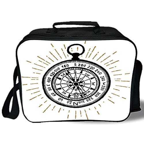 Insulated Lunch Bag,Compass,Hand Drawn Vintage Inspired Sea Navigation Journey Themed Black and White Design Decorative,Black White,for Work/School/Picnic, Grey