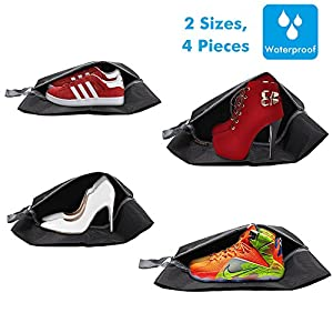 Portable and Waterproof Nylon Travel Shoe Bag with Zipper Closure,Pack of 4, Black