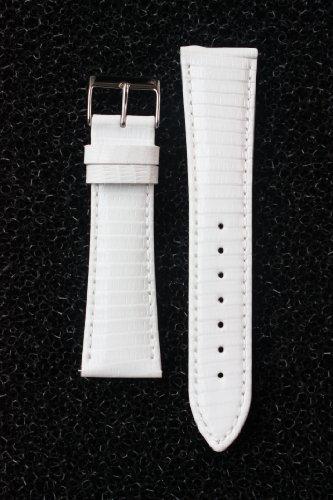 16 mmホワイトGenuine Lizard Micheleスタイルバンドwithクイックリリースピン  B006G49X6G