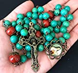 elegantmedical Hanmade Red Carnelian Beads & Howlite Bead Catholic Rosary Antiqued Bronze Crucifix Necklace Jesus Cross Gift Box